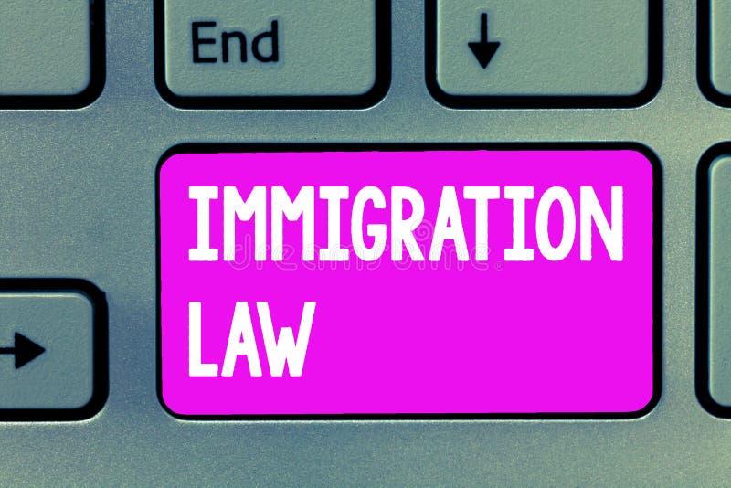 Lag för invandring för ordhandstiltext Affärsidéen för emigration av en medborgare ska vara lagenlig i danande av loppet arkivfoto