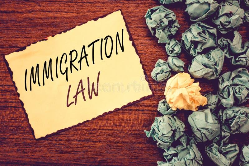 Lag för invandring för ordhandstiltext Affärsidéen för emigration av en medborgare ska vara lagenlig i danande av loppet royaltyfri foto