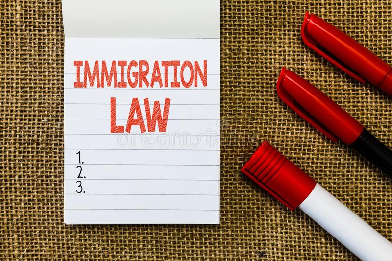 Lag för invandring för ordhandstiltext Affärsidéen för emigration av en medborgare ska vara lagenlig i danande av loppet arkivbilder
