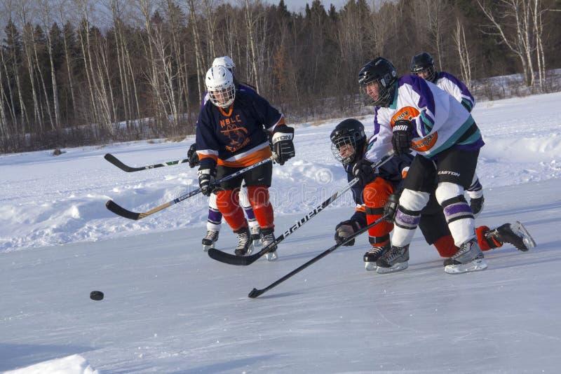 Lag för kvinna` s konkurrerar i en dammhockeyfestival i Rangeley fotografering för bildbyråer
