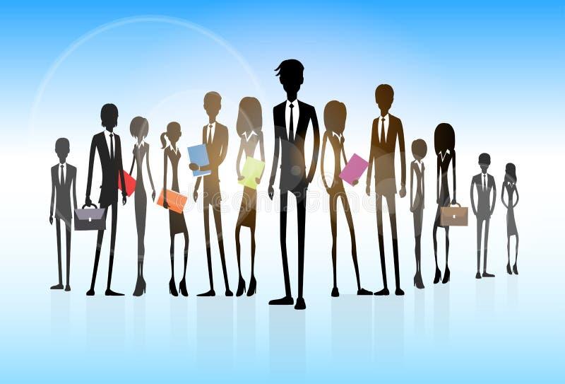 Lag för ledare för kontur för grupp för affärsfolk vektor illustrationer