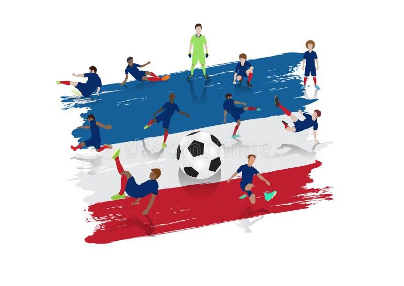 Lag för vektorfotbollspelare med den Frankrike flaggan stock illustrationer