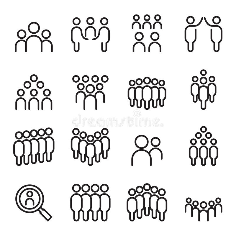 Lag folk, grupp, människa, personalsymbolsuppsättning i tunn linje royaltyfri illustrationer