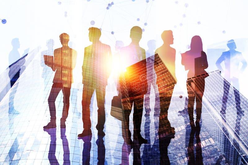 Lag-, framgång- och mötebegrepp stock illustrationer