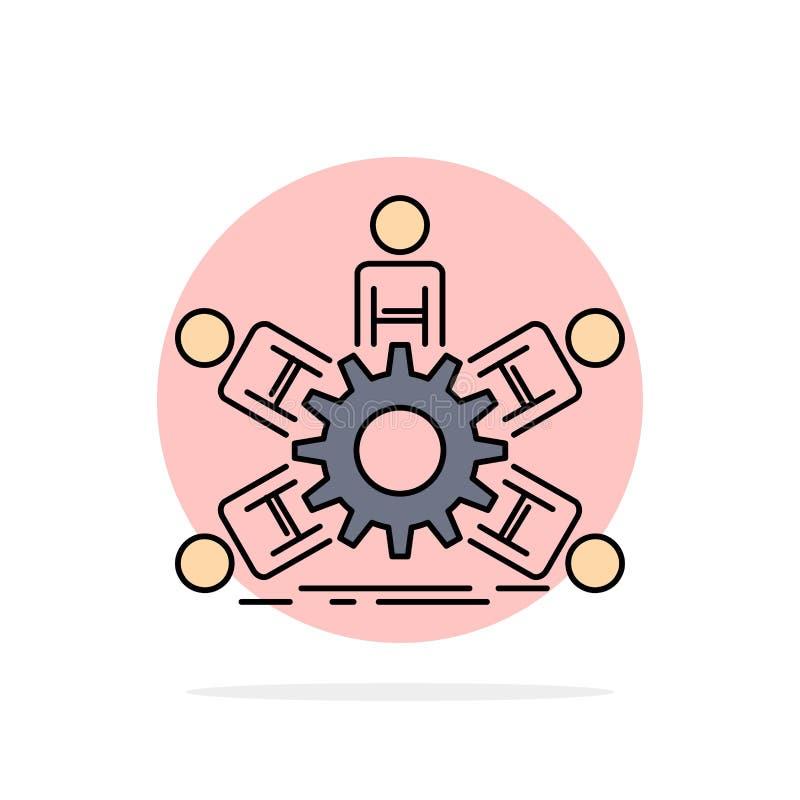 lag grupp, ledarskap, affär, för färgsymbol för teamwork plan vektor stock illustrationer