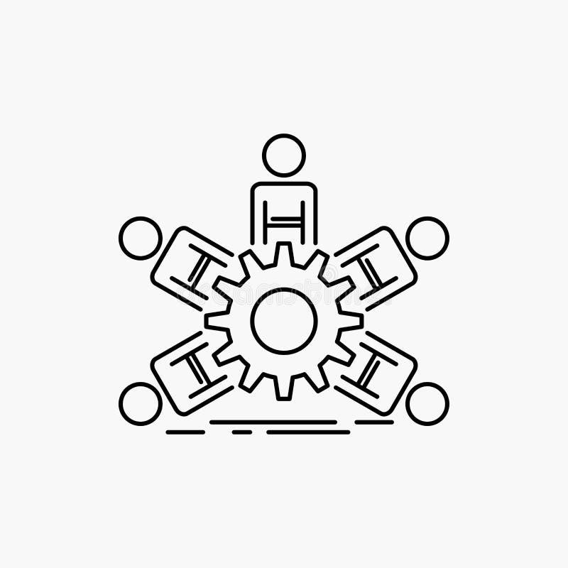lag grupp, ledarskap, affär, teamworklinje symbol Vektor isolerad illustration stock illustrationer