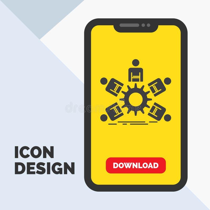 lag grupp, ledarskap, affär, teamworkskårasymbol i mobilen för nedladdningsida Gul bakgrund stock illustrationer