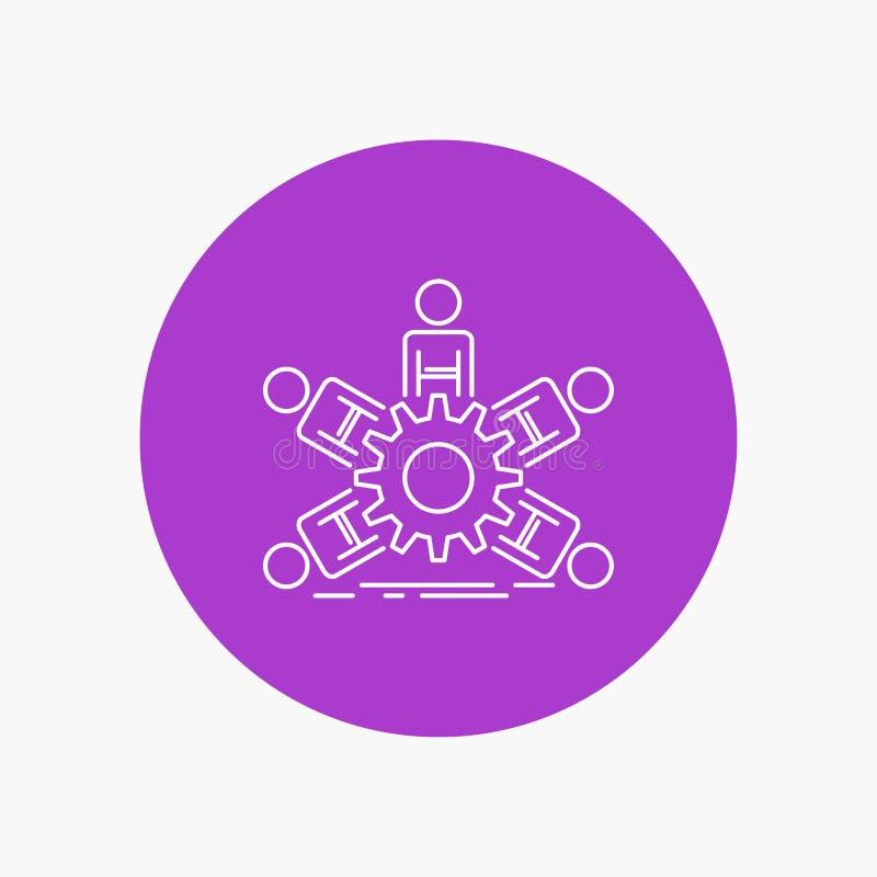 lag grupp, ledarskap, affär, vit linje symbol för teamwork i cirkelbakgrund Vektorsymbolsillustration royaltyfri illustrationer
