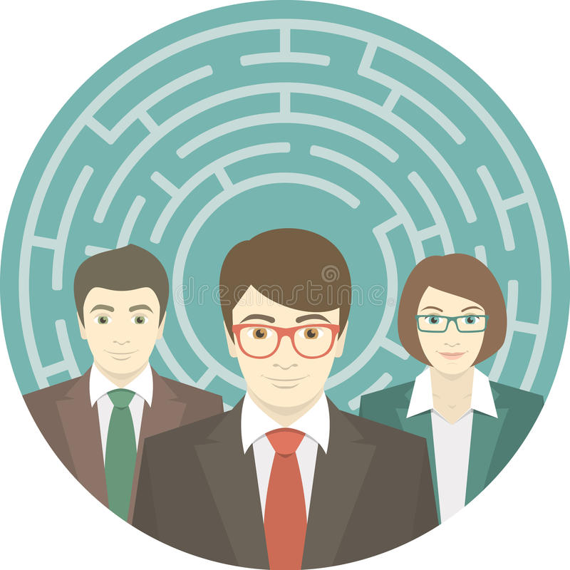 Lag i labyrint stock illustrationer