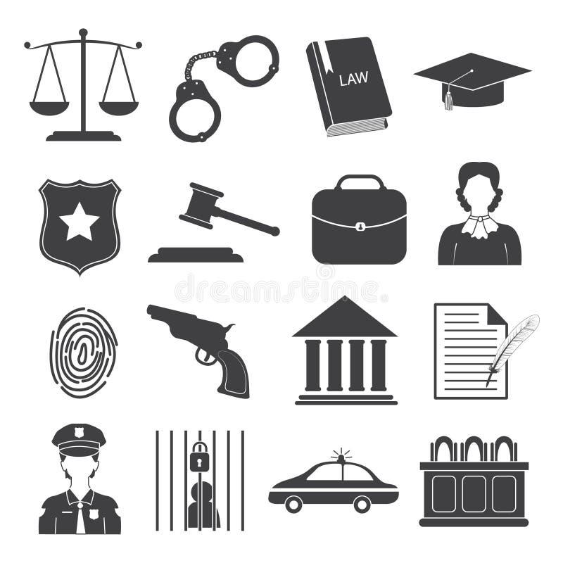 Lag- och rättvisasymbolsuppsättning stock illustrationer
