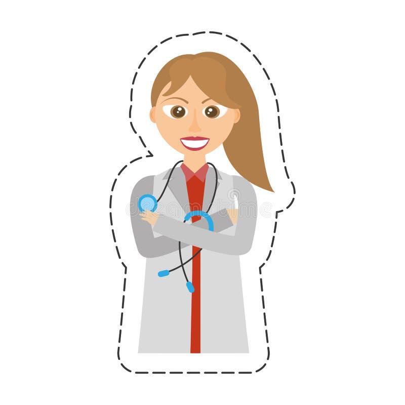 lag och stetoskop för kvinnlig doktor för tecknad film bärande stock illustrationer