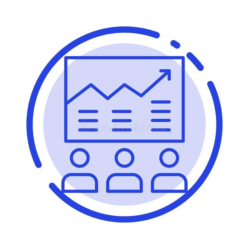 Lag pil, affär, diagram, försök, graf, blå prickig linje linje symbol för framgång stock illustrationer