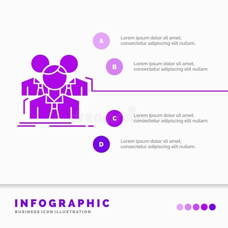 Lag, teamwork, aff?r, m?te, gruppInfographics mall f?r Website och presentation Infographic stil f?r sk?ralilasymbol vektor illustrationer