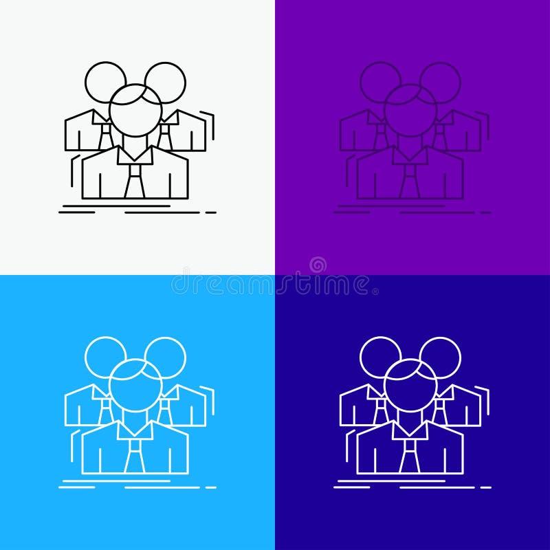 Lag teamwork, aff?r, m?te, gruppsymbol ?ver olik bakgrund Linje stildesign som planl?ggs f?r reng?ringsduk och app Vektor f?r EPS vektor illustrationer