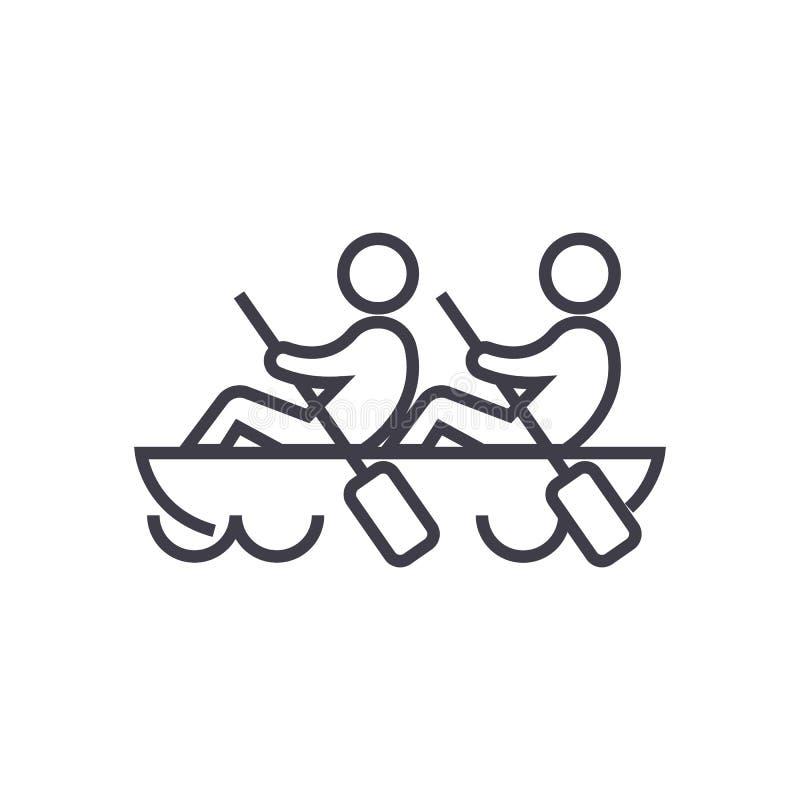 Lag teamwork, kanotvektorlinje symbol, tecken, illustration på bakgrund, redigerbara slaglängder vektor illustrationer