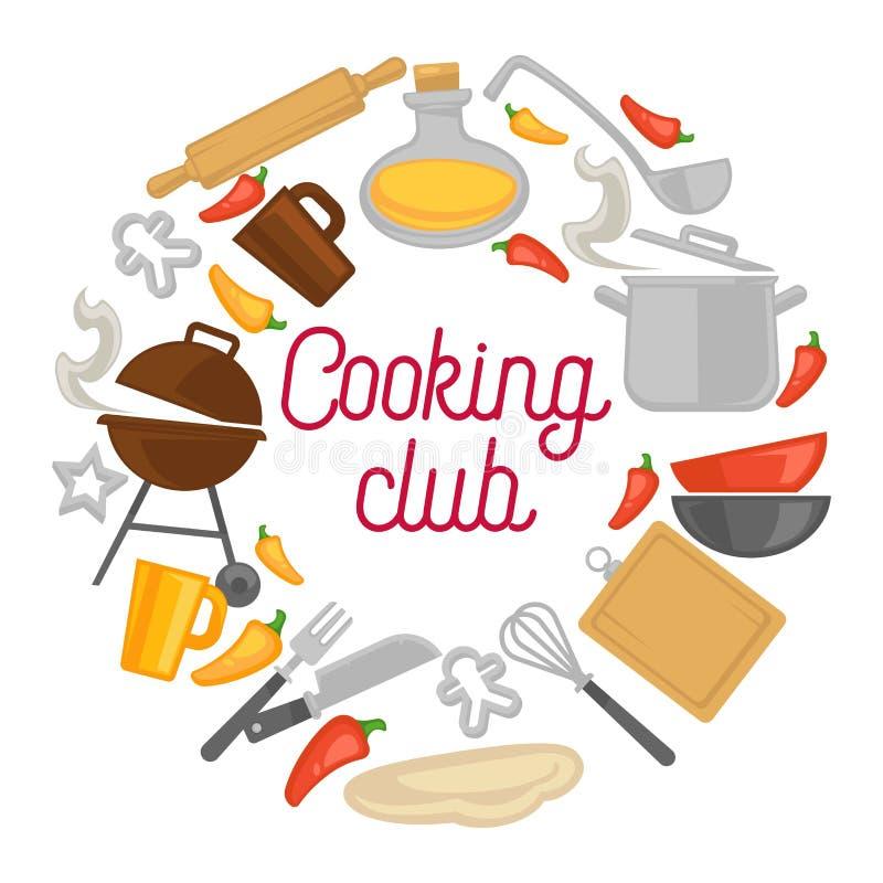 Laga mat affischen för vektor för symboler för klubbakockkitchenware vektor illustrationer
