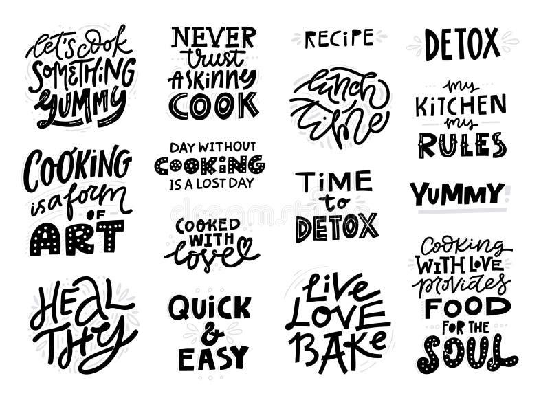 Laga mat den handskrivna svarta märka uppsättningen för slogan vektor illustrationer
