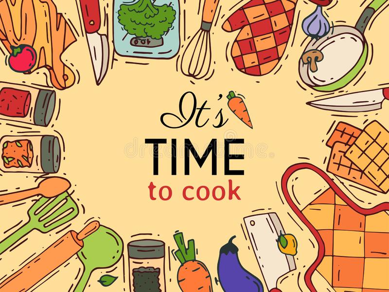Laga mat den utrustningvektorkitchenware eller cookwaren för mat med illustrationen för för kökredskapbestick och platta dishware stock illustrationer