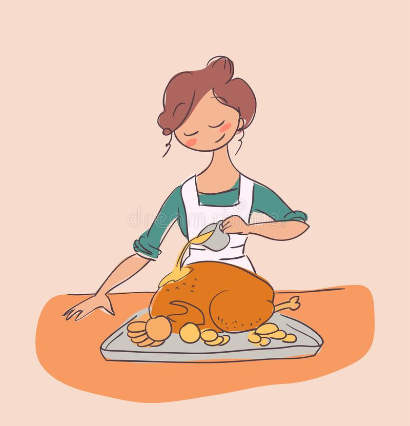 Laga mat det fega klottret för illustrationen för hemmafrumatställevektorn vektor illustrationer