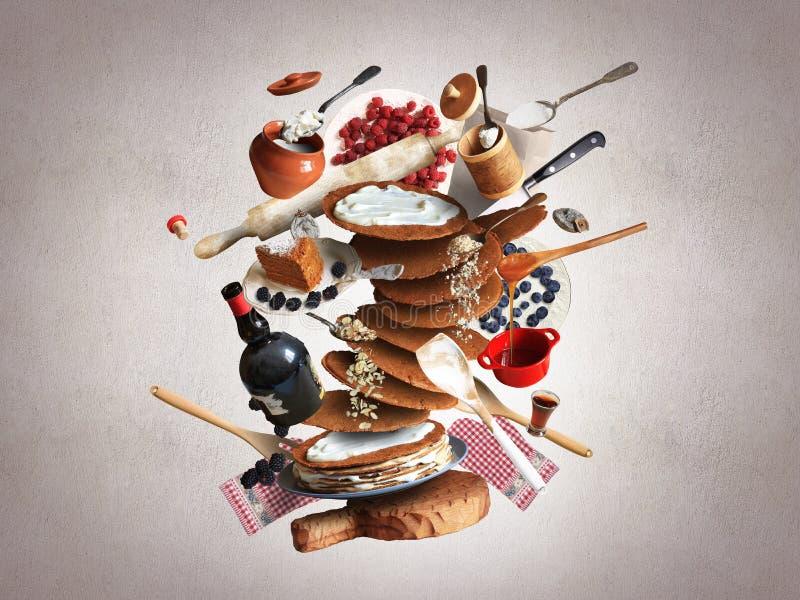 Laga mat en stor kaka med bär och kräm arkivbilder