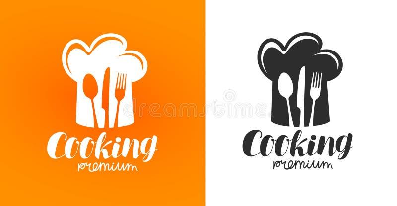 Laga mat etiketten eller logo Restaurang eatery, matställe, bistro, kafésymbol stock illustrationer