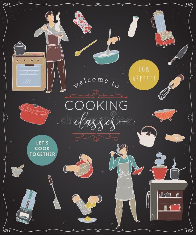 laga mat för grupper Planlägg mallen med folk som förbereder mål, köksgeråd och anordningar stock illustrationer