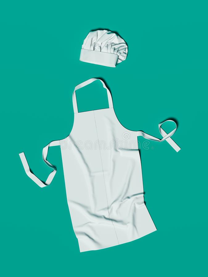 Laga mat förklädet, grönsaker skärbräda redskap, toque, rivjärn framf?rande 3d stock illustrationer