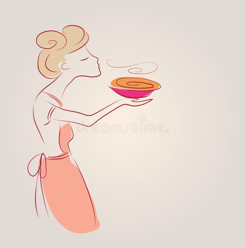 Laga mat flickaillustrationen med soppa skissa klottret stock illustrationer