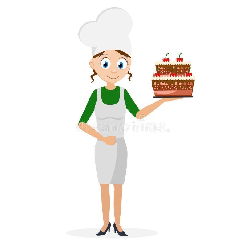 Laga mat flickan som rymmer en härlig kaka i hennes hand På vitbakgrund stock illustrationer