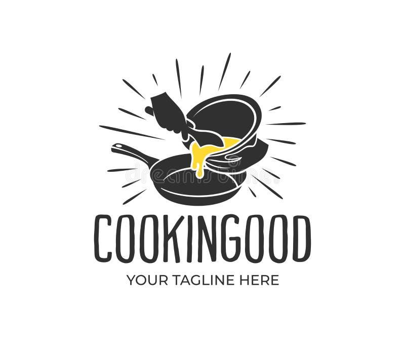 Laga mat hällande ingredienser in i småfiskpannan, tappning och retro stil, logodesign Matlagning gastronomi, kök, restaurang, me royaltyfri illustrationer
