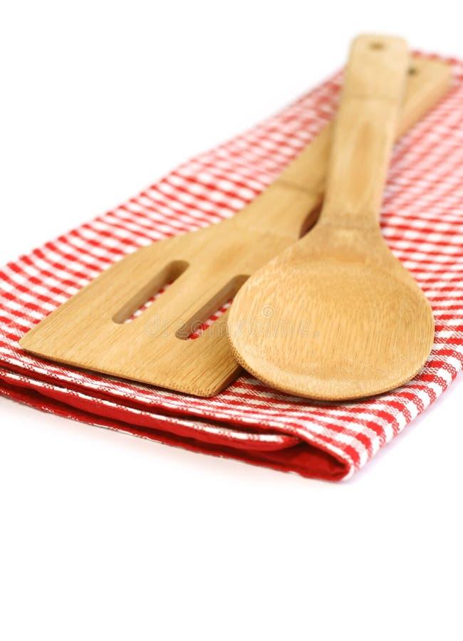 laga mat isolerat vitt trä för utensils royaltyfri foto