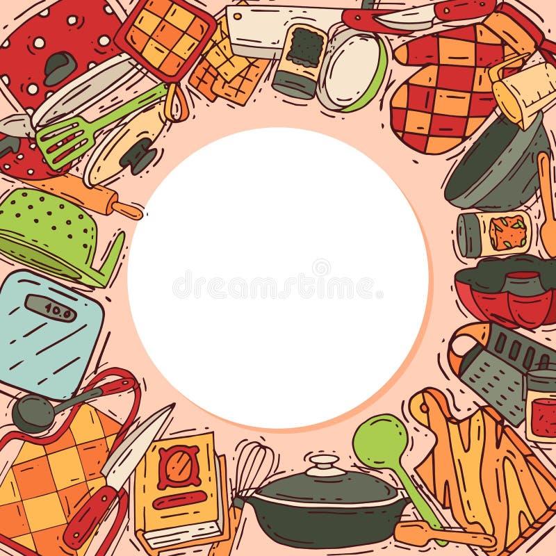Laga mat kitchenware eller cookwaren för vektor för utrustningrundamodell för mat med den kökredskapbestick och plattan royaltyfri illustrationer