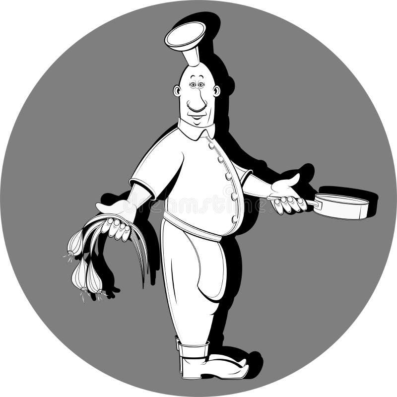Laga mat med den svartvita löken royaltyfri illustrationer