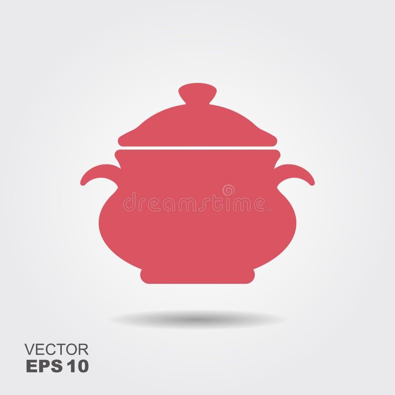 Laga mat pannasymbolsvektorn, fyllt plant tecken, fast pictogram som isoleras på vit royaltyfri illustrationer