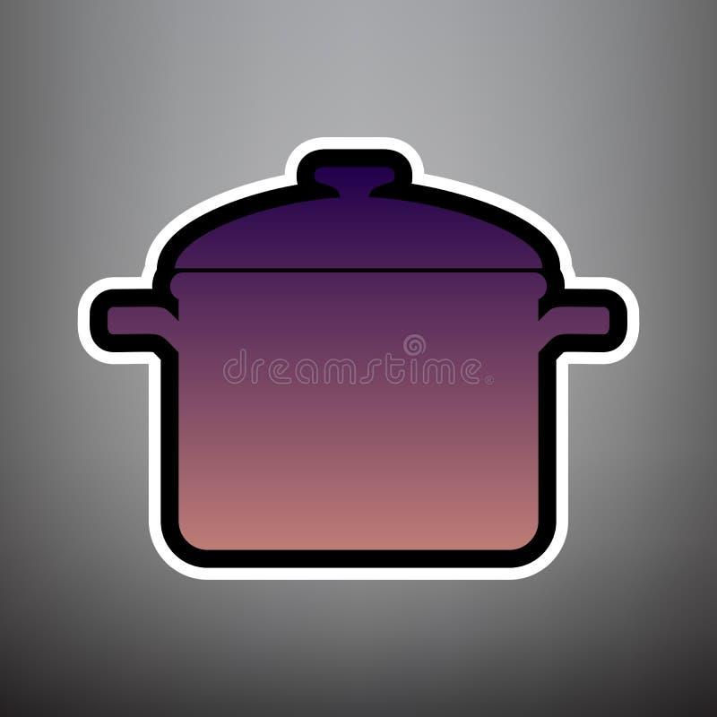 Laga mat pannatecknet vektor Violett lutningsymbol med svart och wh royaltyfri illustrationer