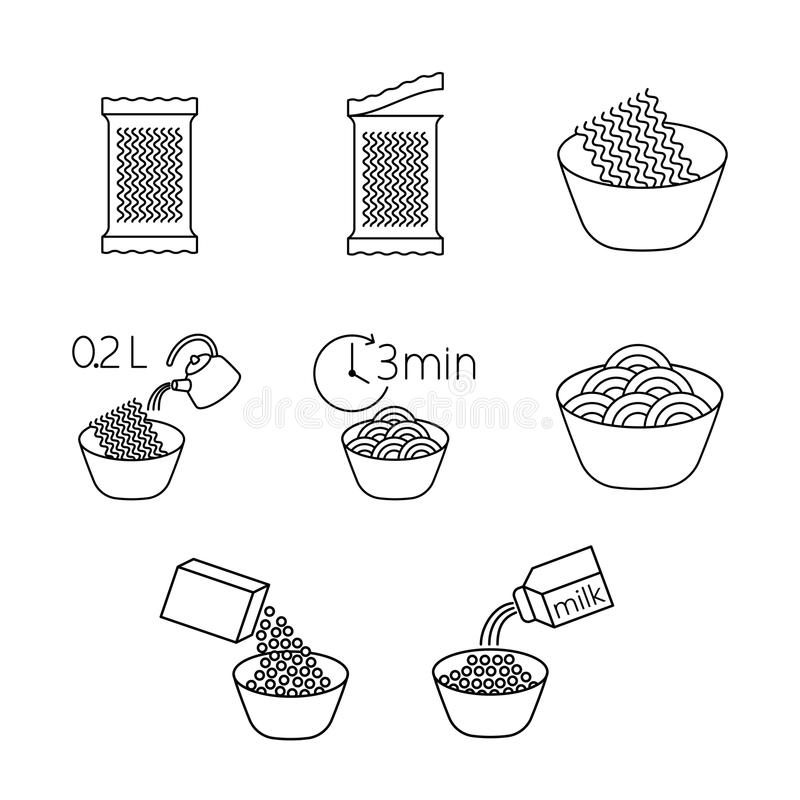 Laga mat uppsättninglinjen för ögonblicklig nudel på vit bakgrund vektor illustrationer