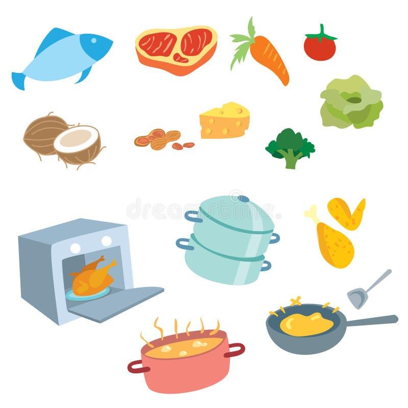 Laga mat vektoruppsättningen royaltyfri fotografi