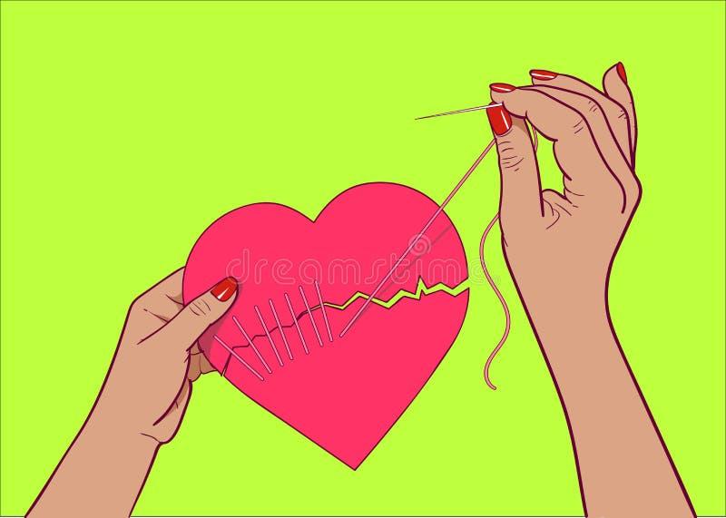 Lagad hjärtavektorillustration royaltyfri illustrationer