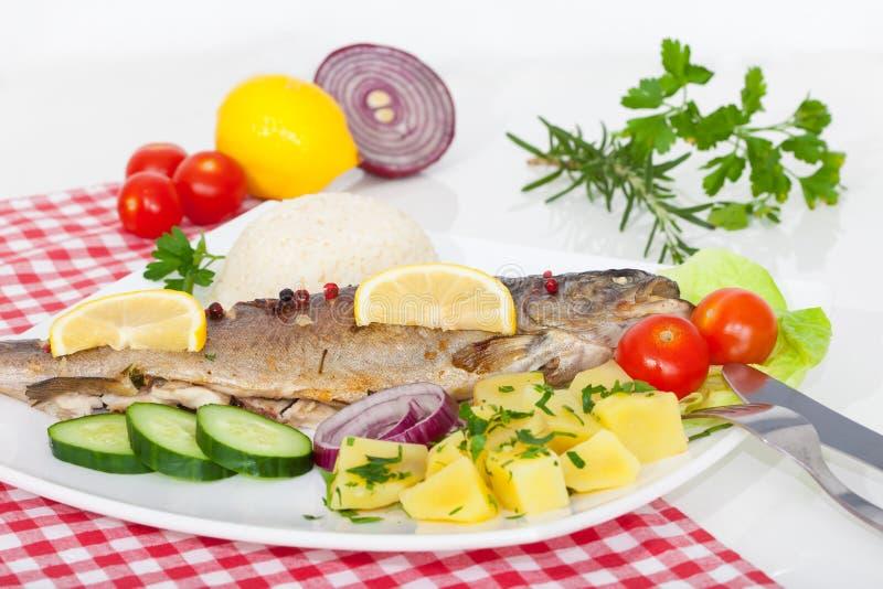 Lagad mat fisk med grönsaker, örter och citronen royaltyfri bild