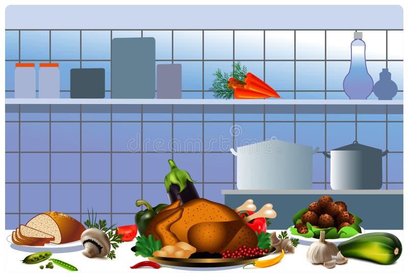 Lagad mat höna i köket vektor illustrationer