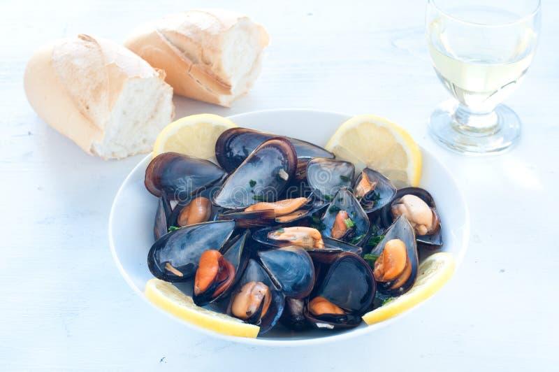 Lagad mat musslamarinara med tomaten, vitlök och olivolja royaltyfri fotografi