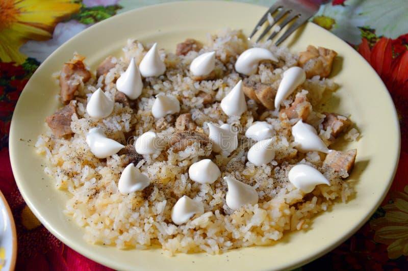 Lagad mat pilaff på plattan Med majonnäs- och jordningssvartpeppar orientalisk kokkonst royaltyfri bild