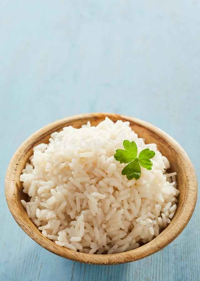 Lagade mat vitt långt korn medeltal-kokade ris fotografering för bildbyråer