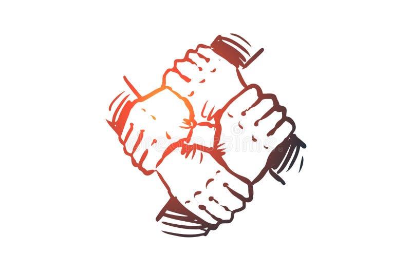 Lagande, tillsammans, anslutning, partnerskapbegrepp Hand dragen isolerad vektor stock illustrationer