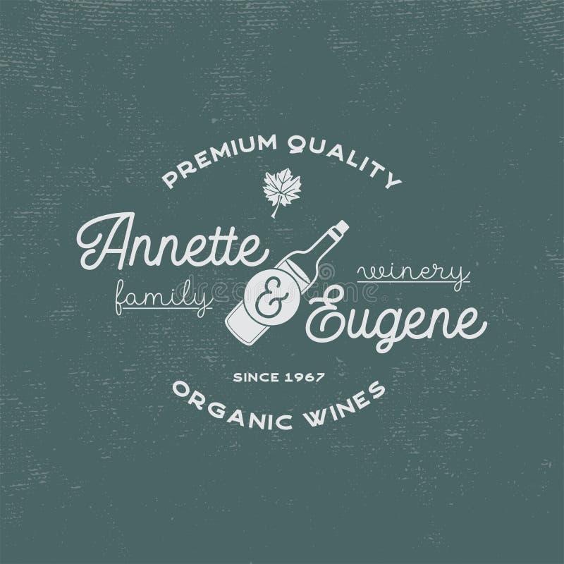 Lagar de la familia, logotipo de la tienda de vino Vinos orgánicos, calidad superior Insignia del viñedo Símbolos retros - botell libre illustration