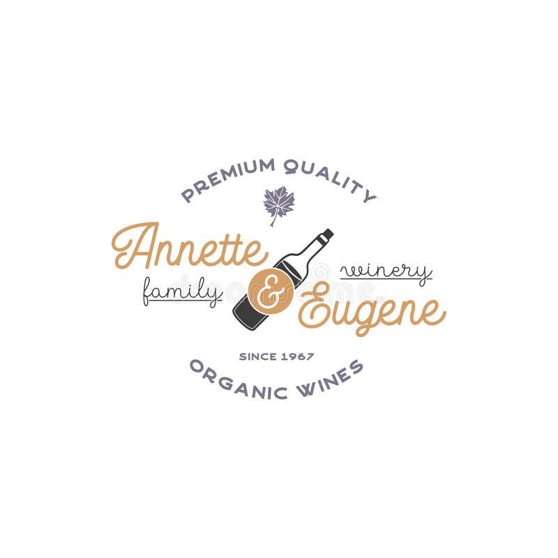 Lagar de la familia, logotipo de la tienda de vino Vinos orgánicos, calidad superior Insignia del viñedo Símbolos retros - botell stock de ilustración