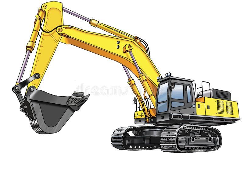 Lagarta da máquina escavadora ilustração royalty free