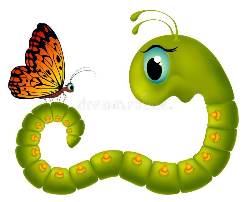 Lagarta de olhos arregalados de Cartoony que olha uma borboleta em um fundo branco ilustração do vetor