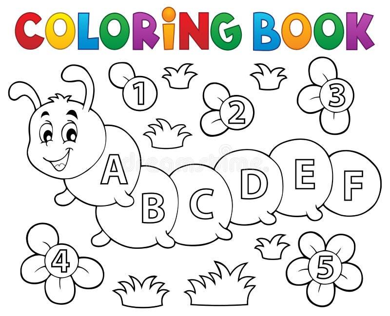 Lagarta Do Livro Para Colorir Com Letras Ilustração Do