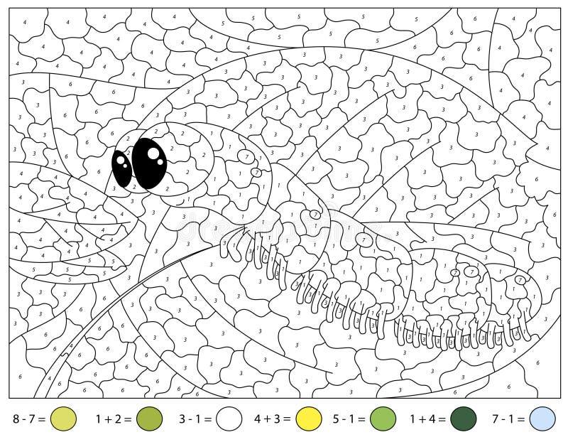 Lagarta dos desenhos animados na folha verde no céu azul Tarefas da adição e da subtração Cor pelo jogo educacional do número ilustração do vetor